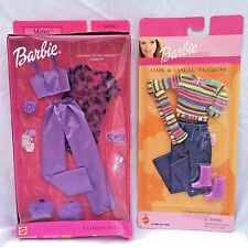 Lot of 2 Barbie Outfits Metro Pajamas Cool & Casual Pant Shirt Boots Fashion Ave
