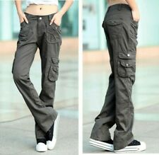 Ladies High Waist Cargo Trousers Long Pants Straight Military Overalls Outdoor