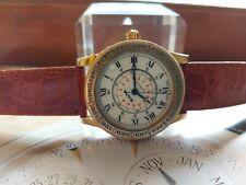 OROLOGIO BULOVA LINDBERGH CORNER TIME WATCH GOLD 18 KT G.F. ETA 2824-2 25J BIG !