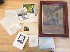 Vintage art,correspondance German -handpainted post cards WWII era +
