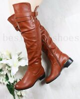 LADIES WOMENS OVER THE KNEE BOOTS WIDE CALF FIT LOW FLAT HEEL HIGH BOOTS SIZE3-8