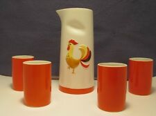 Holt Howard Rooster Pitcher and 4 Cups