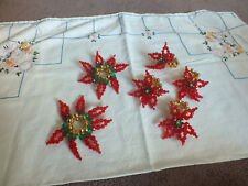 Collectible Handmade Beaded Set or 4 Napkin Holders 2 Candle Holders? Poinsettia