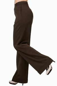 Brown  VTG Wartime 1920s 1930s 1940s Style Wide Leg High Waist Swing Trousers