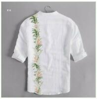 Summer Mens Chinese Style Ethnic Linen Cotton Floral Short Sleeve Floral Shirts