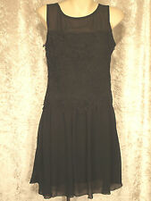 LBD with Flower Pattern Black Embroidered Top & Gathered Plain Skirt