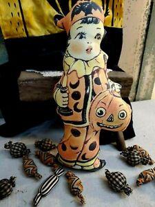PRIMITIVE VINTAGE FOLK ART BEISTLE HALLOWEEN 3D FABRIC PUMPKIN GIRL PILLOW DOLL