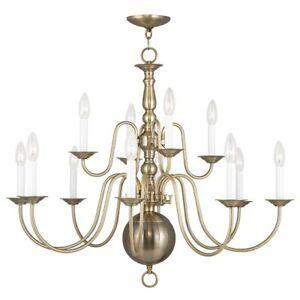 Livex Lighting Williamsburg Chandelier in Antique Brass - 5014-01
