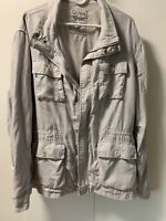 Women's Calvin Klein  Anorak Jacket 2XL  Light Gray Solid Linen Blend