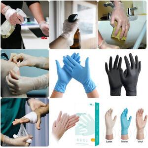 Black Blue Clear Powder/Latex Free Rubber Gloves Nitrile Vinyl S M L XL