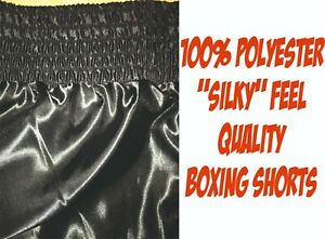 BOXING SHORTS - PLAIN or PERSONALISED - Smooth Satin Quality Finish - ALL BLACK