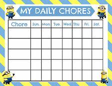 Impresión A5-tabla de recompensa niños Minion tareas incluye pegatinas sonriente cara