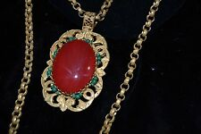 Early Vtg MIRIAM HASKELL Necklace & Earrings Set Faux Coral Cabochon Turquoise