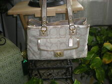 NWT Coach PENELOPE LINEN SIGNATURE CARRYALL Handbag Purse 19231 Retail $328
