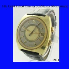 Mens 14k Gold Omega SeaMaster Memomatic Alarm Wrist Watch 1974