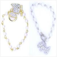 Gold / silver tone crystal dog puppy charm bracelet