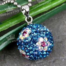 925 Sterling Silver Blue Flower Czech Crystal Bead Pendant Fit Chain Necklace
