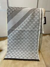 New Authentic Light Brown GUCCI shawl GG Guccissima 140x140 cm wool silk Scarf