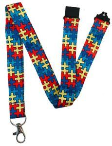 20mm Autism Awareness Jigsaw Puzzle Lanyard & Safety Breakaway
