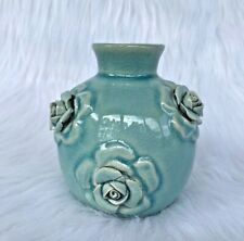 Gorgeous Collectible Pier 1 3D Blue Ceramic Flower Vase Home Decoration 4'' J3