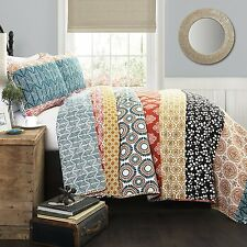 King Reversible Quilt Set 3pc Sham Bohemian Patch Work Bed Room Cotton Linen New