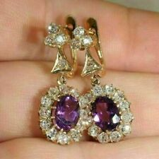Oval Cut 3.0Ct Amethyst Diamond Drop/Dangle Earrings Solid 14K Yellow Gold Over