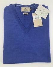 New Hackett Mayfair Merino Silk Jumper Sweater Cardigan Blue