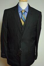 Men's Suit 3-Piece Black Striped Vest 44 44R NEW NWT Slim Fit