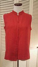 M Eileen Fisher 100% Irish Linen Vest Orange Gold Stand Collar Made in USA>