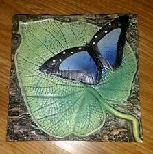 Natalie Surving~Beautiful Butterfly-Tile High Relief Hand Painted Ceramic Art 6""