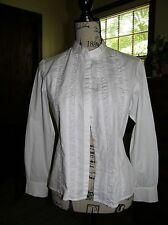 2174) Vintage Talbots Petites White LS Blouse Puckered Front Panels 100% Cotton