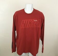 Nike Athletics Mens Long Sleeve T Shirt Size L 90s Spell Out Sleeves Red Cotton