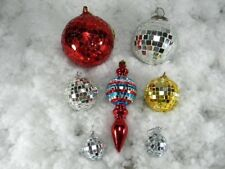 """Vintage Mirrored Christmas Ornaments Glass Disco Balls 1 3/8"""" -  3 1/2"""" Lot of 7"""