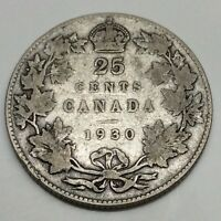1930 Canada 25 Twenty Five Cents Quarter Canadian Circulated Coin D832