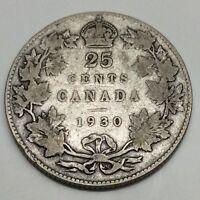1930 Canada 25 Twenty Five Cents Quarter Canadian Circulated Coin D832