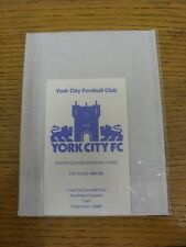 1984/1985 Fixture List: York City - Official Four Page Card . Thanks for viewing