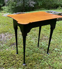 J. L. Treharn country tiger maple tea table with original crackle-painted black