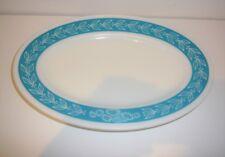 Pyrex Autumn Bands Turquoise Blue Laurel Leaf Oval Platter Plate