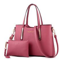 Womens Ladies 2pcs Leather SHOPPER Clutch Hobo Shoulder Bag Handbag Purse Tote Pink
