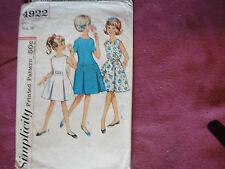 Vtg Simplicity Pattern 4922 Girls Dress 1960s Sz 10 Child Princess Pleats Zipper