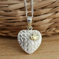 Solid 925 Sterling Silver Celtic Love Heart  Pendant with Gold Vermeil Claddagh