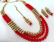 Indian Ethnic Bollywood Gold Plated Kundan Fashion Bridal Jewelry Necklace Set 3
