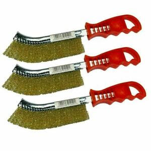 (PACK OF 3) Brass Coated Wire Scratch Brushes For Paint , Rust Removal
