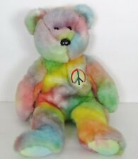 1999 Ty Peace  Bear 16 Inches Ty Dye The Beanie Buddies Collection Plush Toy