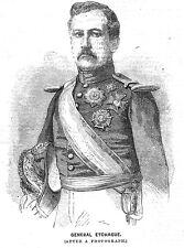 Espagne Général don rafael ECHAGUE-impression antique 1860