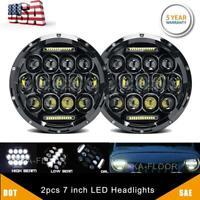"2X Black 7"" inch Round LED Headlight Hi/Lo Beam 300W for JEEP Chevrolet C10 3100"