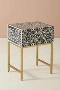 Personalized Bone Inlay Bedside Table Home Decor Purpose Attractive Design