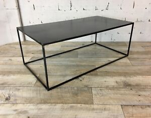 Raw Steel Top Industrial Style Minimal Coffee Table Modern Thin Steel Frame