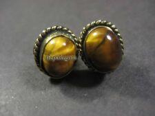 E3229 Gold tone Handmade Fashion Tiger Eye Screw Stud Earrings Nepal Jewelry