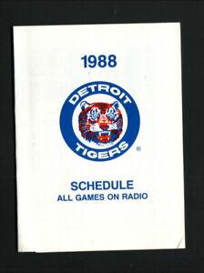 Detroit Tigers--1988 Pocket Schedule--WJR/Marathon